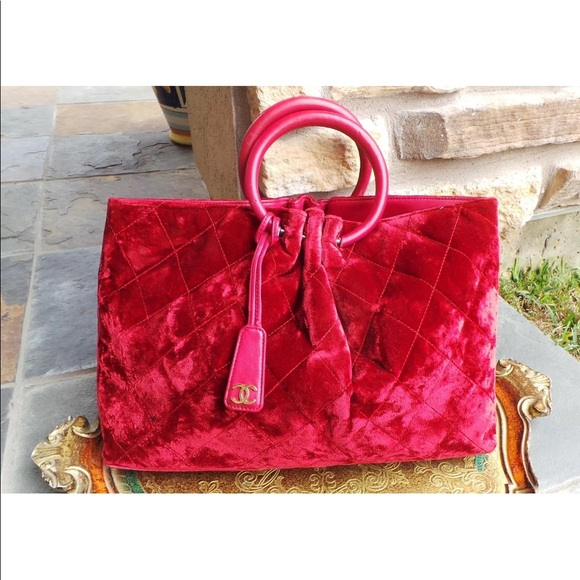 CHANEL Handbags - CHANEL Matelasse VELVET Quilted RED TOTE Auth c81214a0b5ed9